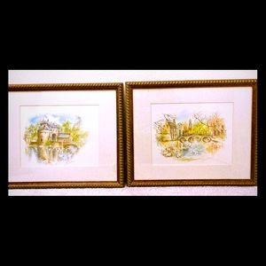 Bernadette Voz Signed Watercolor Prints - set of 2